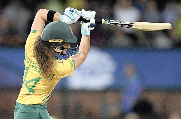 Laura Wolvaardt on her way to a superb unbeaten 41 off 27 balls in the Women's T20 World Cup semi-final against Australia at the SCG. Picture: EPA-EFE